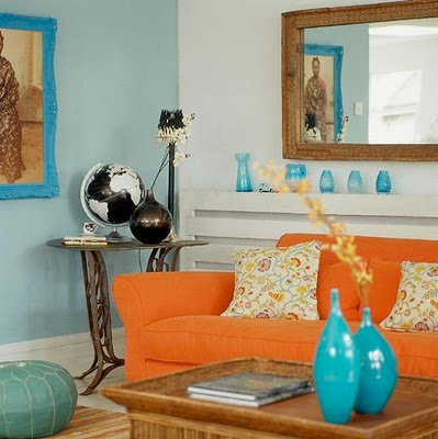 Complementary color schemes - Blue and orange color scheme for living room ...