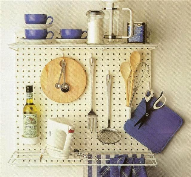 Home improvement pegboards for storage for Kitchen pegboard ideas